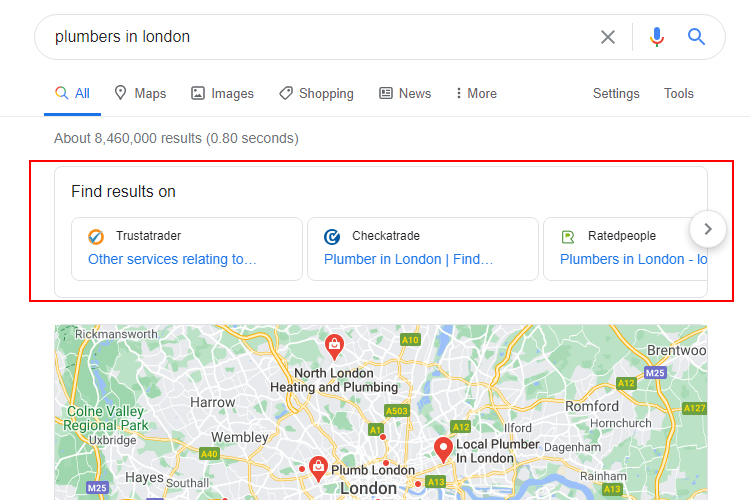 Google Suggesting Directories for Local Tradesman Searches